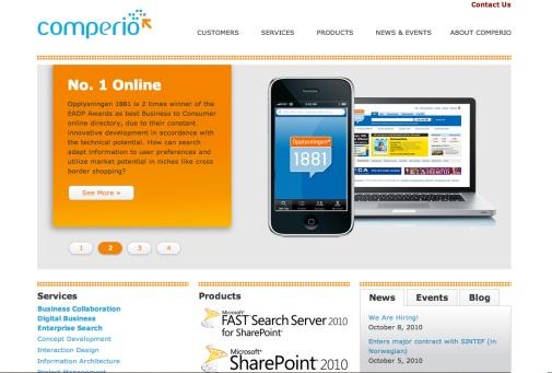 Slik så nettsidene til Comperio ut da jeg begynte der i januar 2011.