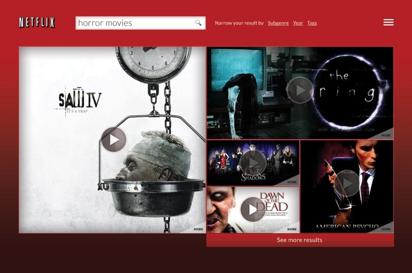 Redesignet søkeresultat på netflix; med søkeordet Horrow movies