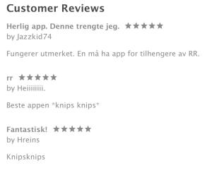 Kundeomtaler i AppStore