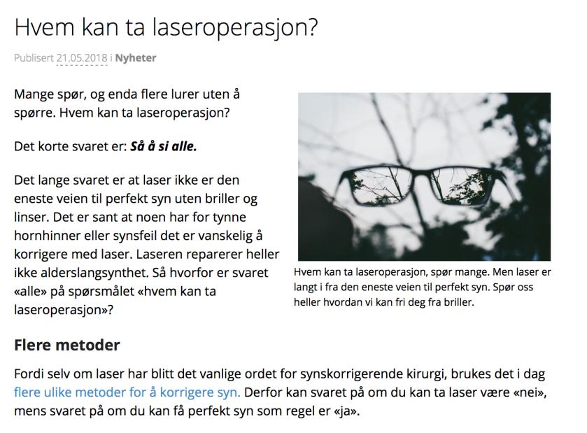 Hvem kan ta laseroperasjon?